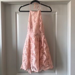 EUC Pink Lace Fit and Flare Halter High Neck Dress